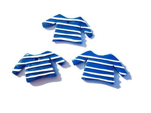 Marinières bleues et blanches, petit pull marin, X 3, en fimo