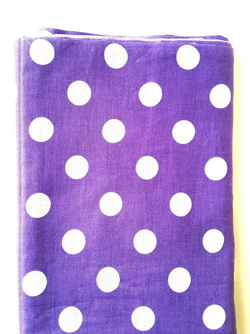 Joli coupon de tissu à pois, VIOLET / BLANC, coton,  88 x 266 cm