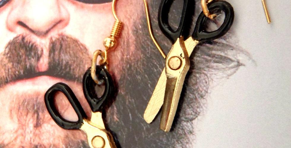 Boucles TWIN CUT, petits ciseaux dorés miniatures