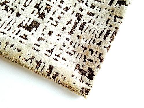 Tissu velours gaufré moka et beige petit morceau, 49 x 60 cm