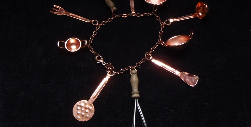 Bracelet charms I LOVE COOKING, accessoires cuivrés