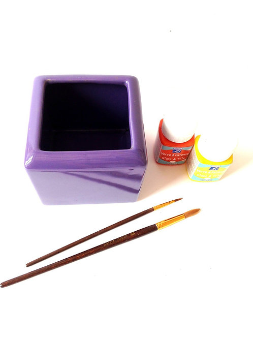 Petit Pot carré, cube en céramique violette, à peindre ou à customiser