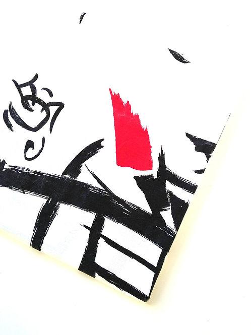 Coupon de tissu blanc noir et rouge à motifs japonisants, coton 165 x 95 cm