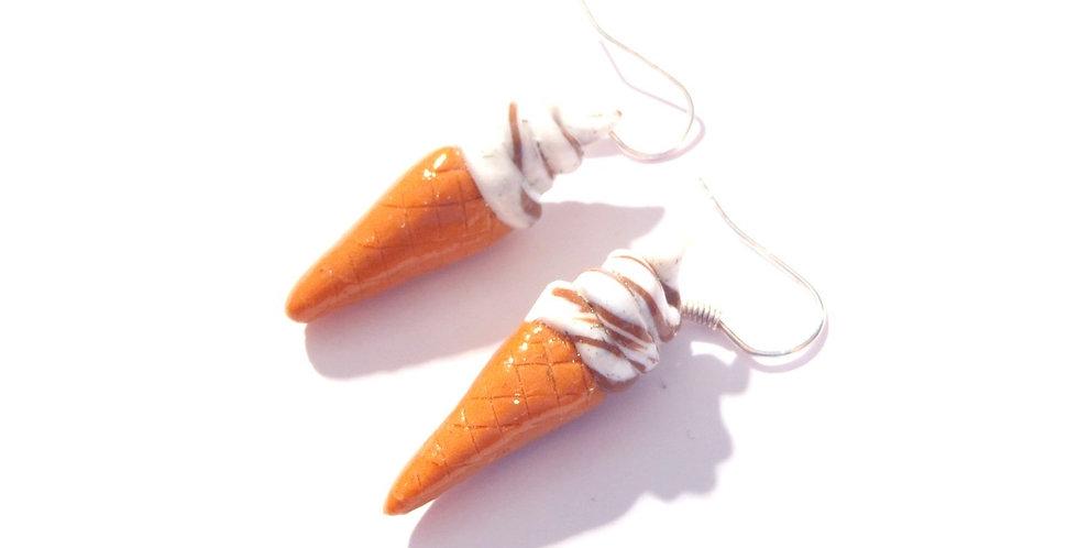 Boucles d'oreilles P'TITES GLACES ITALIENNES, miniatures chocolat
