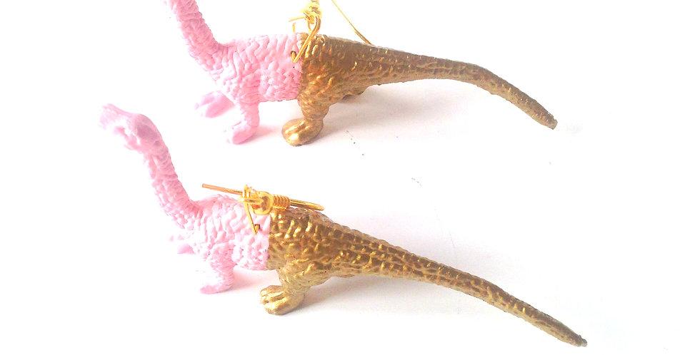 Boucles d'oreilles dinosaures LES DINOBEAUX, rose doré