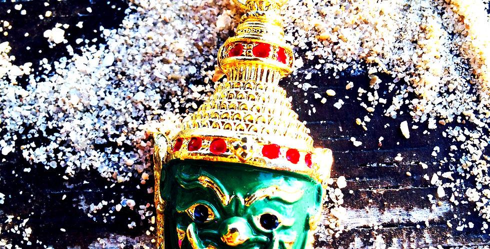 Collier SUKHOTAI, masque Garuda vert