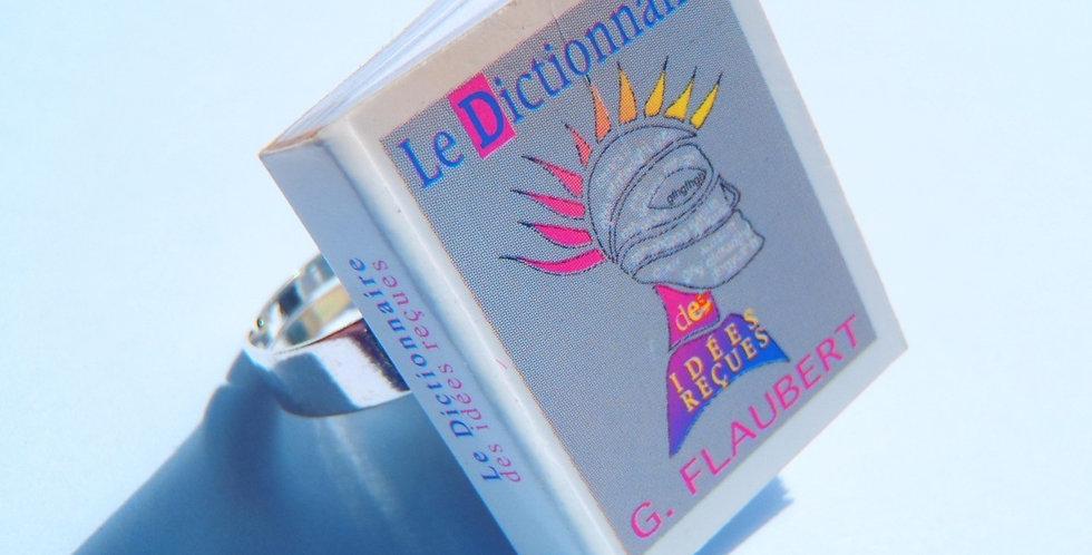 Bague Mini Livre FLAUBERT, le dictionnaire des idées reçues