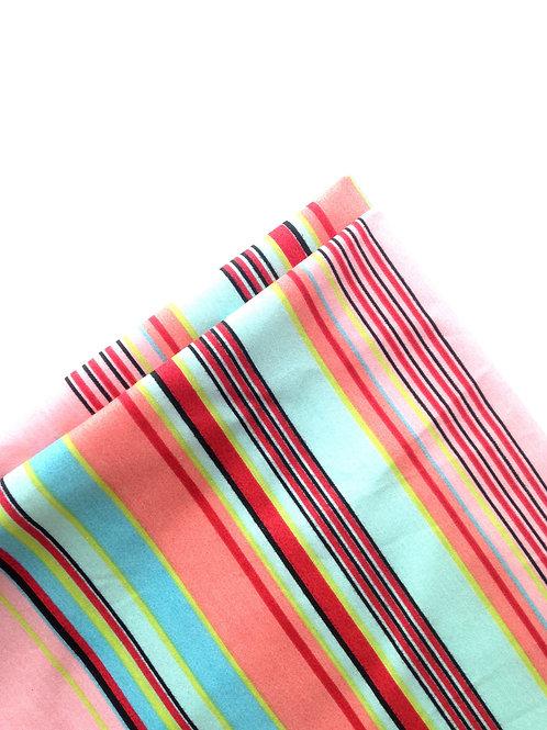 Grand coupon de tissu bayadère extensible, rayures ROSE / BLEU / CORAIL / ROUGE