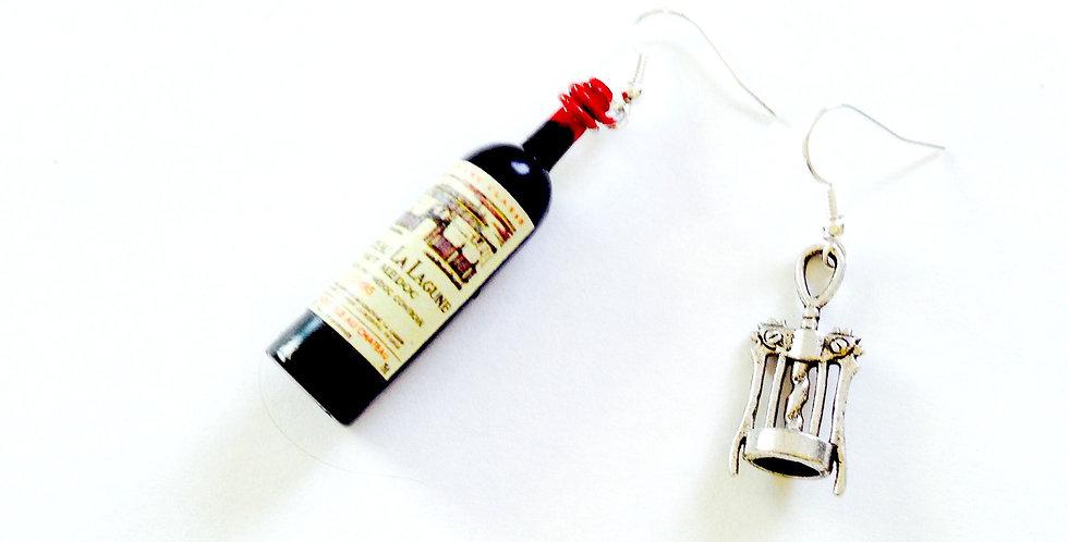 Boucles d'oreilles LE PIF ! bouteille de vin miniature, et tire-bouchon