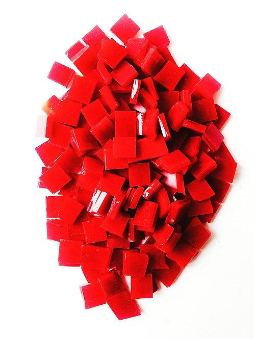 Tesselles de Mosaïque verre 1x1 cm rouges grenat 120 grs