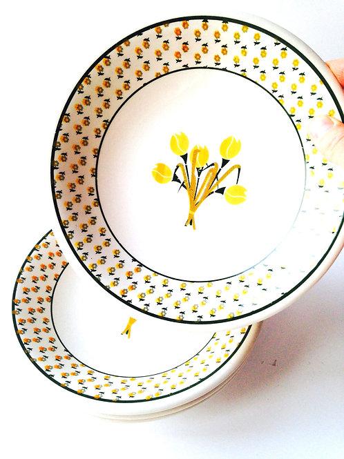 Assiettes creuses vintage, tulipe jaune, céramica andina