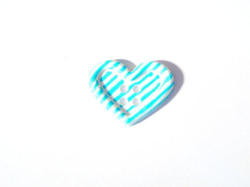Bouton rayé bleu clair et blanc