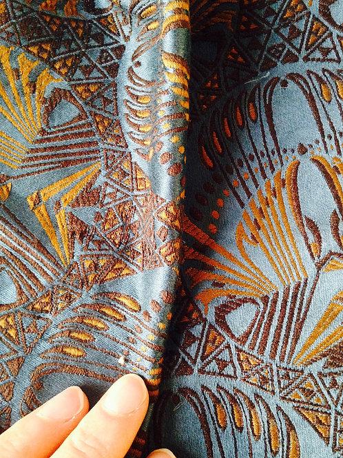 Tissu Tapissier ART DÉCO de luxe, bleu pétrole, motifs brodés ocelles