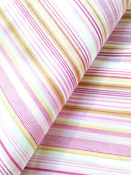 Coupon de tissu ROSE / BEIGE / BLANC à rayures bayadères 125 X 155 cm