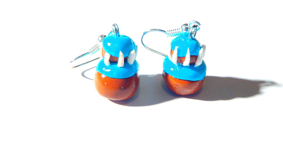Boucles d'oreilles RELIGIEUSES, miniatures bleues