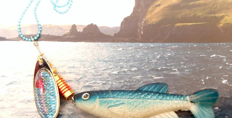 Sautoir l'HAMEÇON GRAND POISSON, chaîne boule bleue