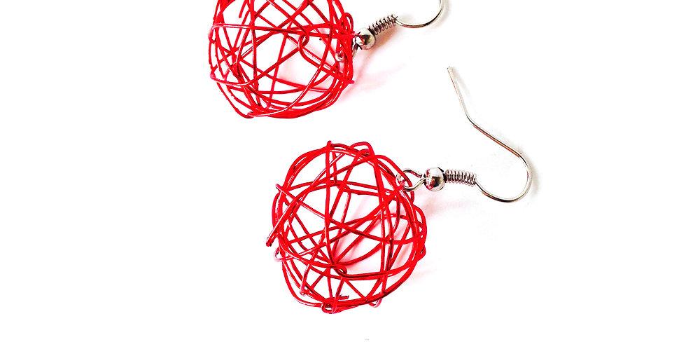 Boucles d'oreilles MINI SPHÈRES, rouges