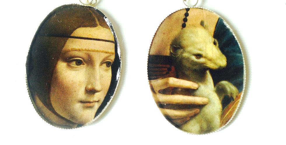 Boucles d'oreilles LA DAME À L'HERMINE, d'après Léonard de Vinci