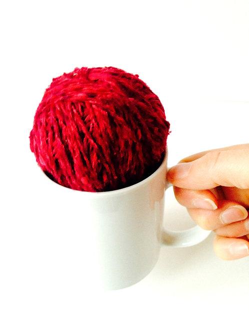 1 pelote chute de laine Bordeaux, mélangée, effets de matière, aig. 4/5