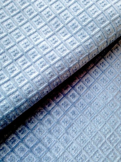Tissu Tapissier, toile épaisse bleu gris, velours gaufré (relief)  80 x 130 cm