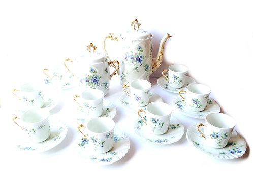Service à thé Limoges fin 19ème déb 20ème fleurs bleues anses or roc 10 tasses