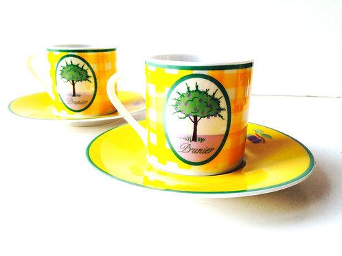 Tasses à café (2) soucoupes, GUY DEGRENNE, sucré salé, vintage, 2 tasses jaunes