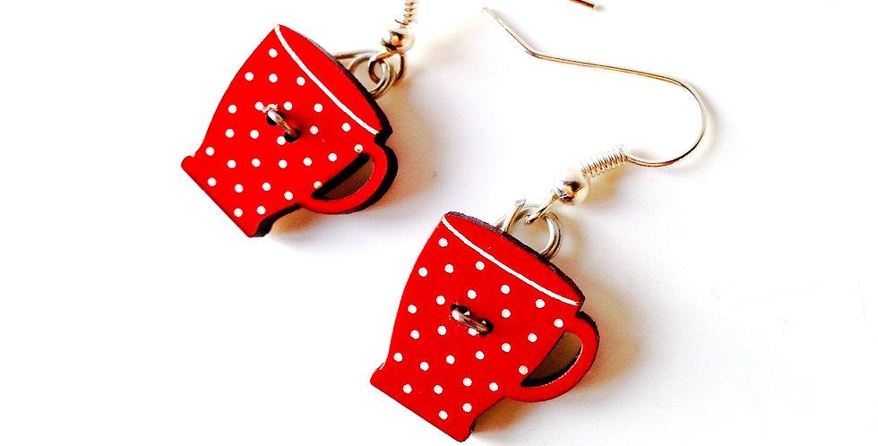 Boucles d'oreilles TEACUPS, tasses rouges à pois