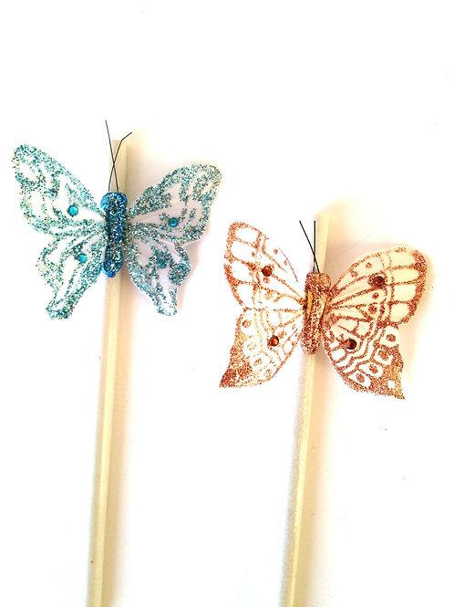 Lot de 2 crayons en pâte de papier recyclé, décorés de papillons en plumes