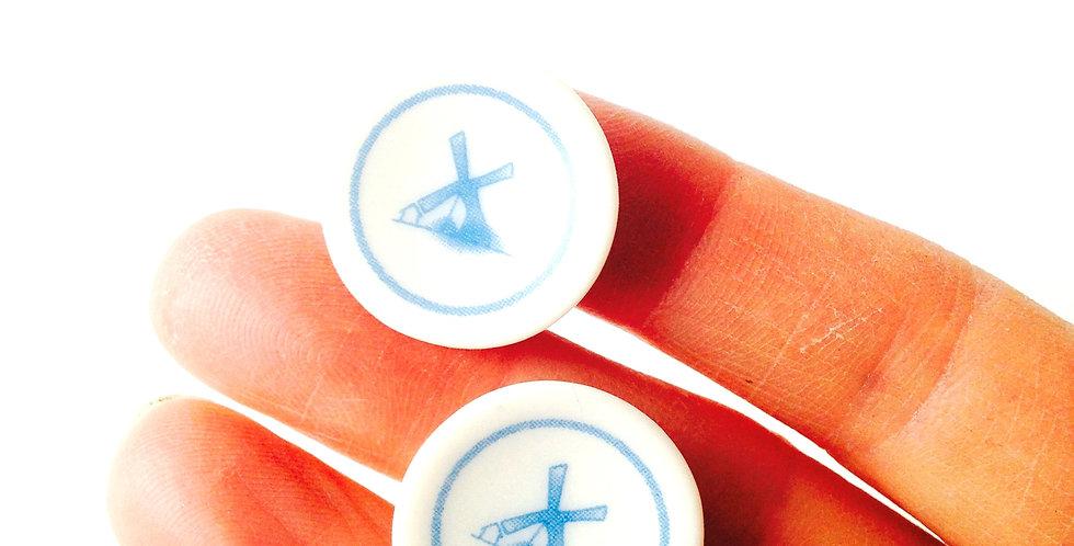 Boucles d'oreilles CLIPS, les p'tits moulins, porcelaine ou céramique