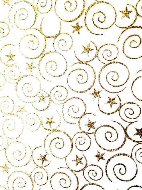 tissu de fête volutes dorées pailletées échantillon