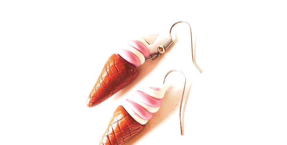 Boucles d'oreilles GLACES ITALIENNES, miniatures, roses