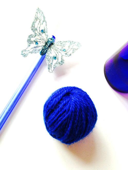 Mini pelote de laine, bleu électrique, chute de laine
