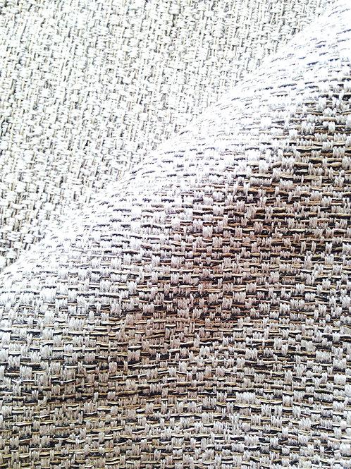 Tissu -- Morceau de toile genre tweed gris et argenté 65 x 100 cm