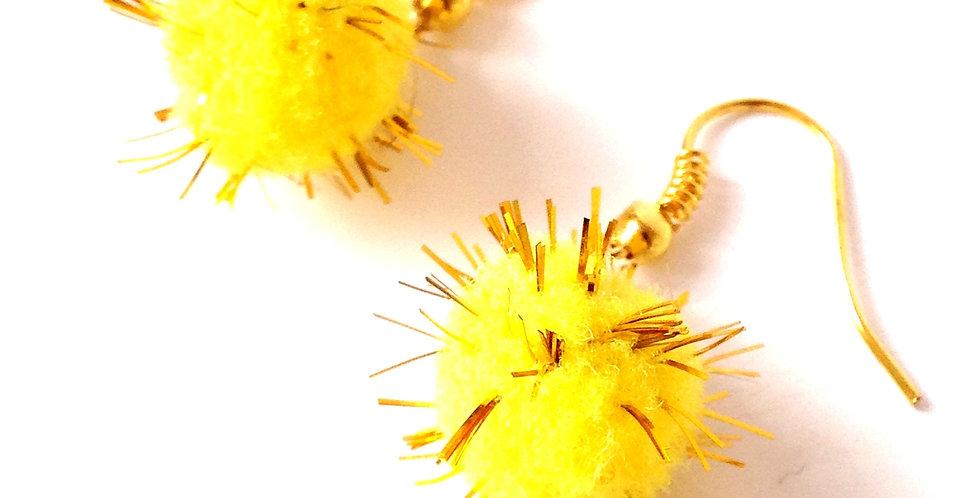 Boucles d'oreilles LES POMPONOUS, jaunes