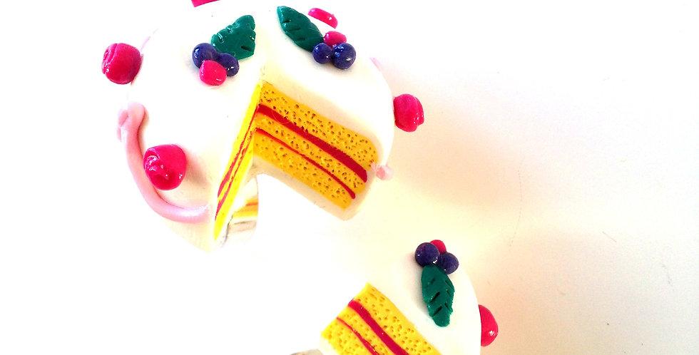 Bague double LE BON GÂTEAU, miniature, gâteau glacé au sucre et part