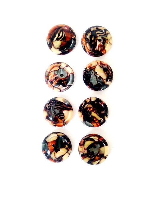 Boutons ronds en résine, taille 2 cm, mosaïque bleu gris