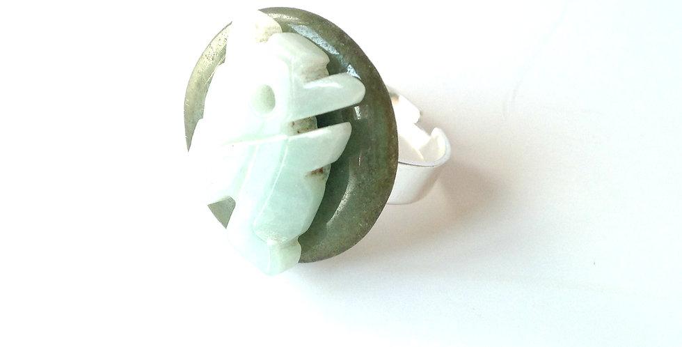 Bague MYANMAR, double jade, anneau ajustable