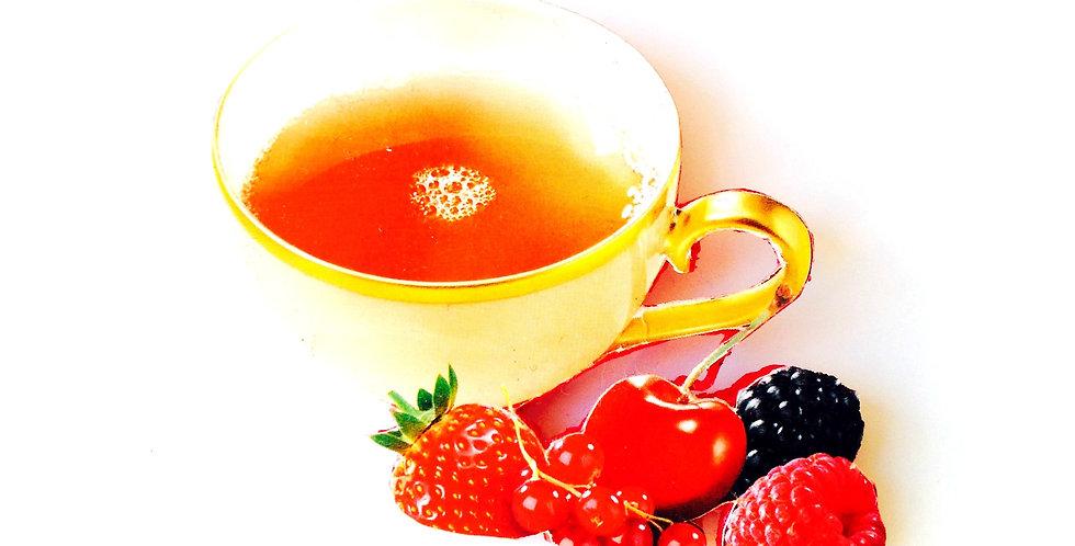 Broche LE THÉ GÉANT, grande tasse thé fruits rouges collage