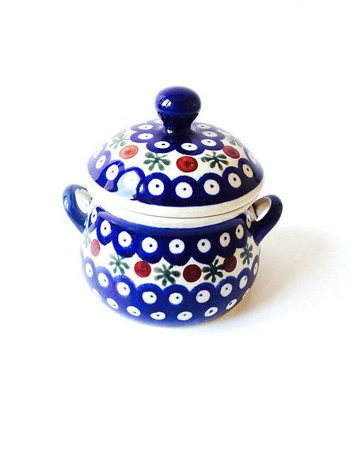 Pot en céramique de Pologne, bleu, avec couvercle