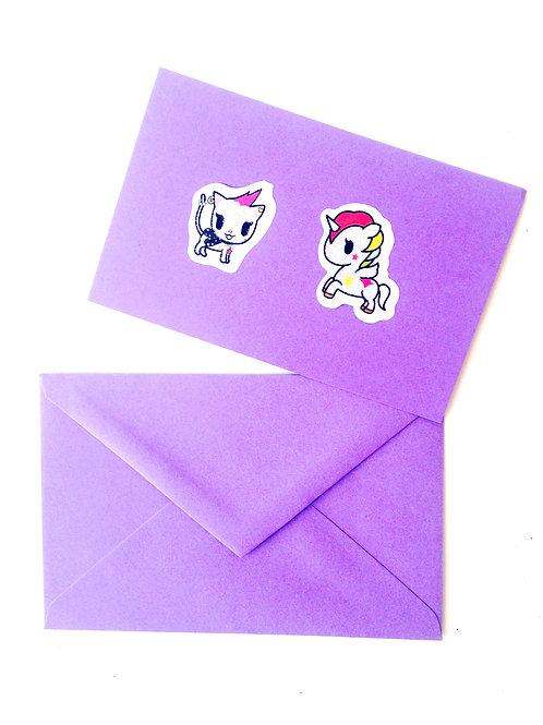 Carte papier mauve sticker LICORNES PAILLETÉES, enveloppe assortie