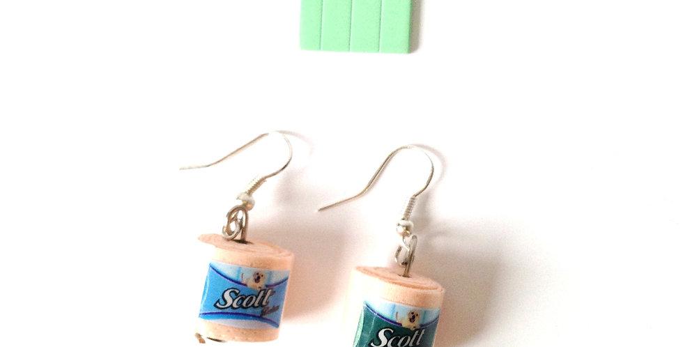 Boucles d'oreilles SPÉCIALES, rouleau papier toilette miniature