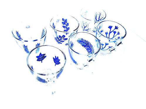 Service à café ou à thé peint à la main PETIT CADEAU, tasses en verre décor bleu