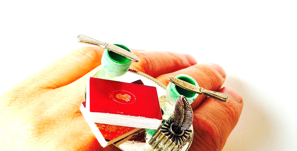 Bague VERLAINE ET RIMBAUD, scène miniature, absinthe