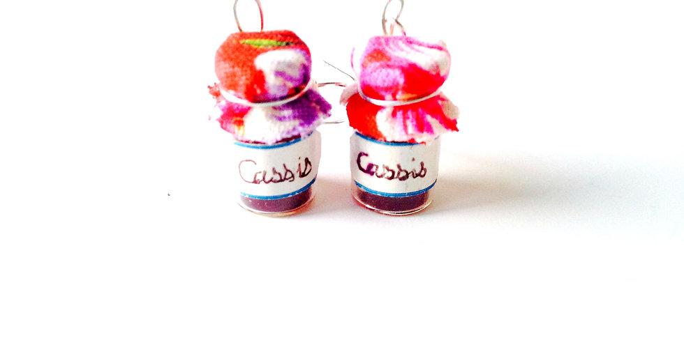Boucles d'oreilles CONFITURE DE CASSIS, pots miniatures
