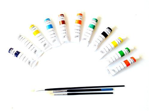 Peintures à l'huile, lots de 11 tubes