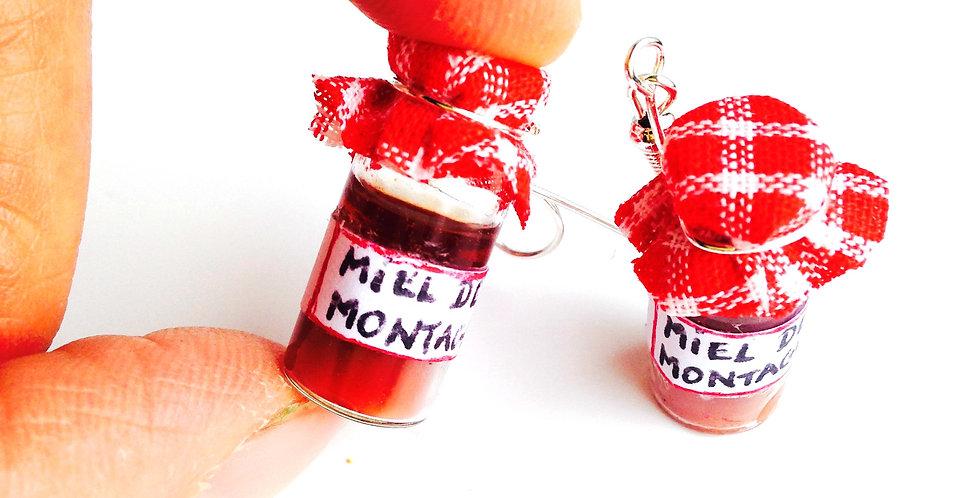 Boucles d'oreilles LE MIEL DE MONTAGNE, pots miniatures