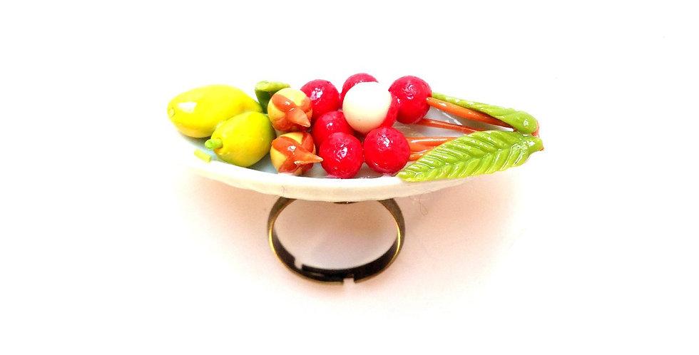 Bague LA PAGODE DE FRUITS, mangue lychee, miniatures
