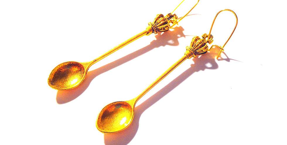 Boucles d'oreilles ANNA KARENINE, cuillers couronne miniatures