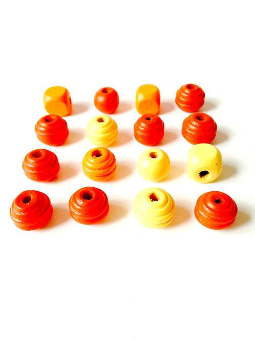 Lot de perles en bois, 16 pièces, rondes, orange, crème
