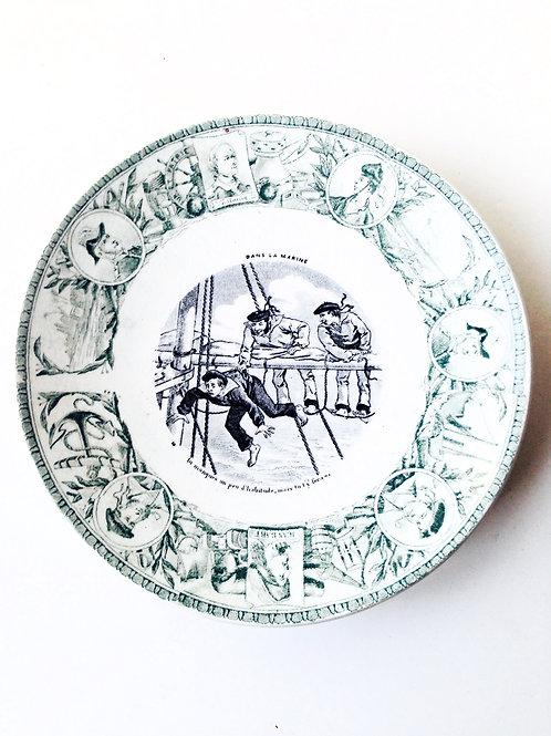 Assiette parlante ancienne KG Lunéville, assiette de collection, belle vaisselle